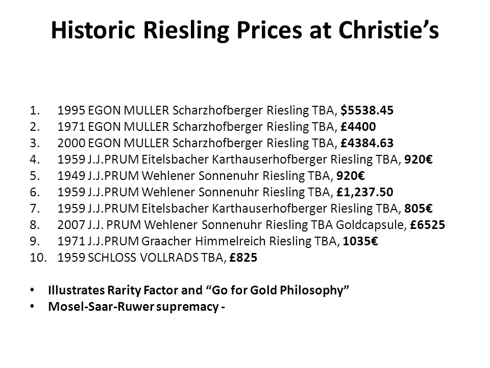 Historic Riesling Prices at Christies 1.1995 EGON MULLER Scharzhofberger Riesling TBA, $5538.45 2.1971 EGON MULLER Scharzhofberger Riesling TBA, £4400