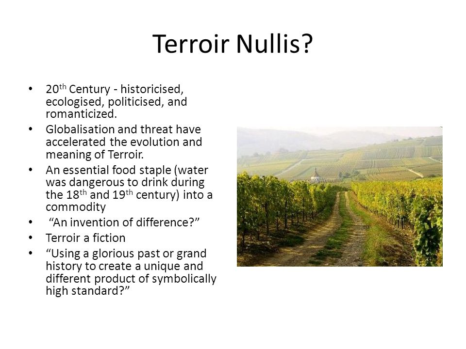 Terroir Nullis. 20 th Century - historicised, ecologised, politicised, and romanticized.