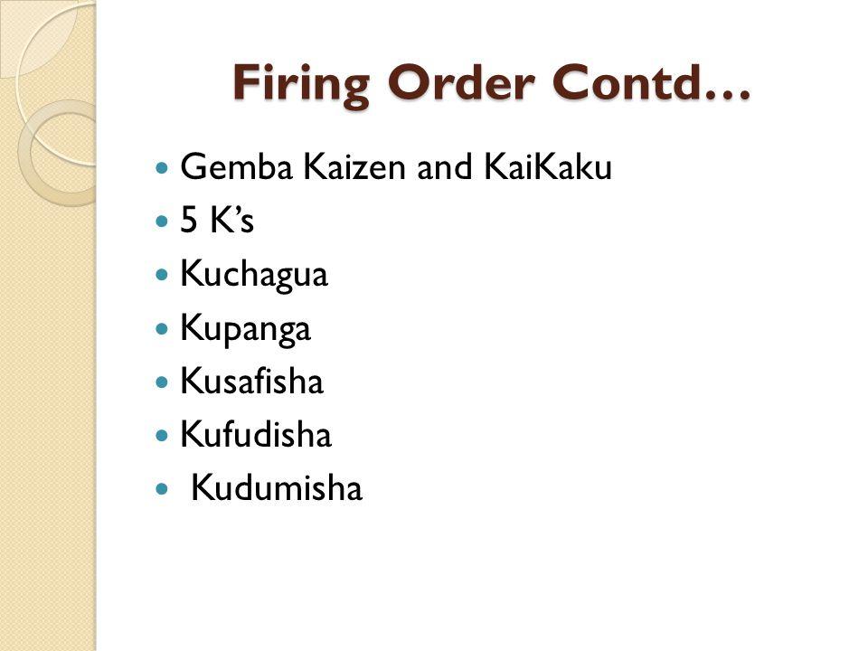 Firing Order Contd… Gemba Kaizen and KaiKaku 5 Ks Kuchagua Kupanga Kusafisha Kufudisha Kudumisha