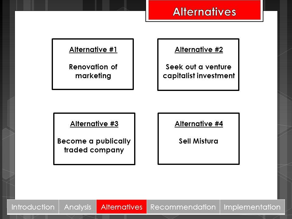 Alternative #3 Become a publically traded company Alternative #2 Seek out a venture capitalist investment Alternative #4 Sell Mistura Alternative #1 R