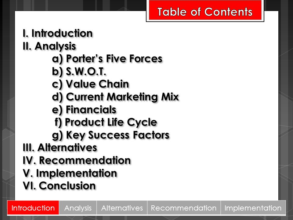 I. Introduction II. Analysis a) Porters Five Forces b) S.W.O.T. c) Value Chain d) Current Marketing Mix e) Financials f) Product Life Cycle g) Key Suc