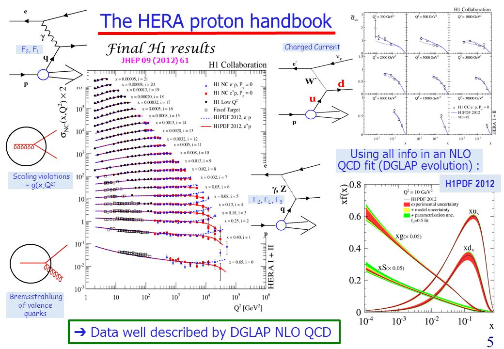 5 The HERA proton handbook Scaling violations ~ g(x,Q 2) F 2, F L F 2, F L, F 3 Bremsstrahlung of valence quarks Using all info in an NLO QCD fit (DGLAP evolution) : Data well described by DGLAP NLO QCD Charged Current JHEP 09 (2012) 61 H1PDF 2012