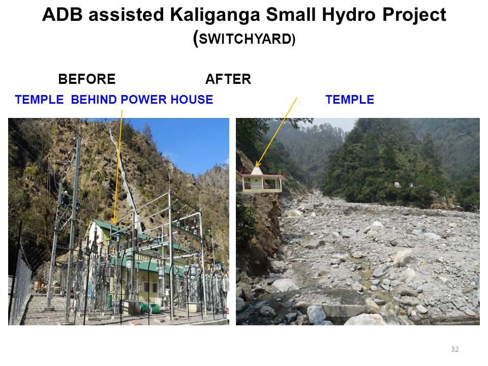 ADB assisted Kaliganga Small Hydro Project ( SWITCHYARD) BEFORE AFTER TEMPLETEMPLE BEHIND POWER HOUSE 32