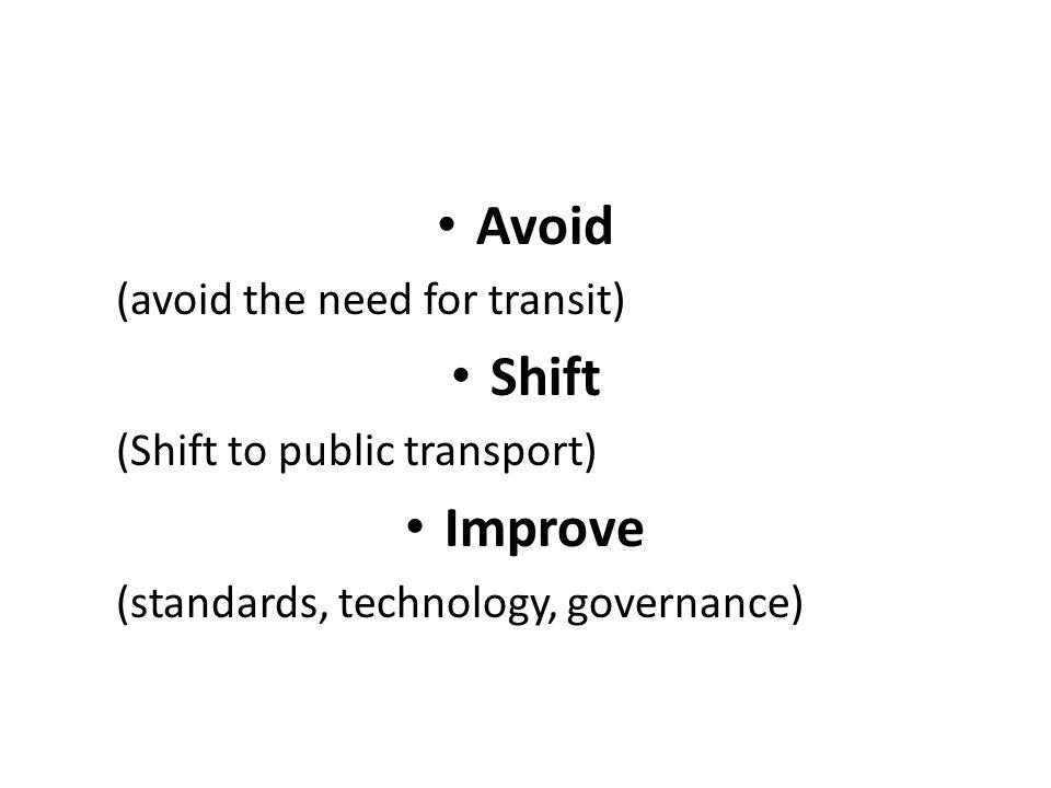 Avoid (avoid the need for transit) Shift (Shift to public transport) Improve (standards, technology, governance)