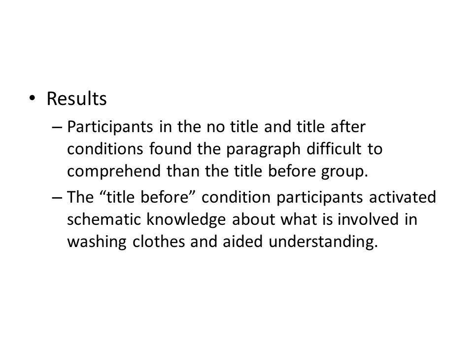 Results – Participants in the no title and title after conditions found the paragraph difficult to comprehend than the title before group. – The title