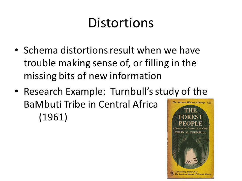 Distortions Schema distortions result when we have trouble making sense of, or filling in the missing bits of new information Research Example: Turnbulls study of the BaMbuti Tribe in Central Africa (1961)