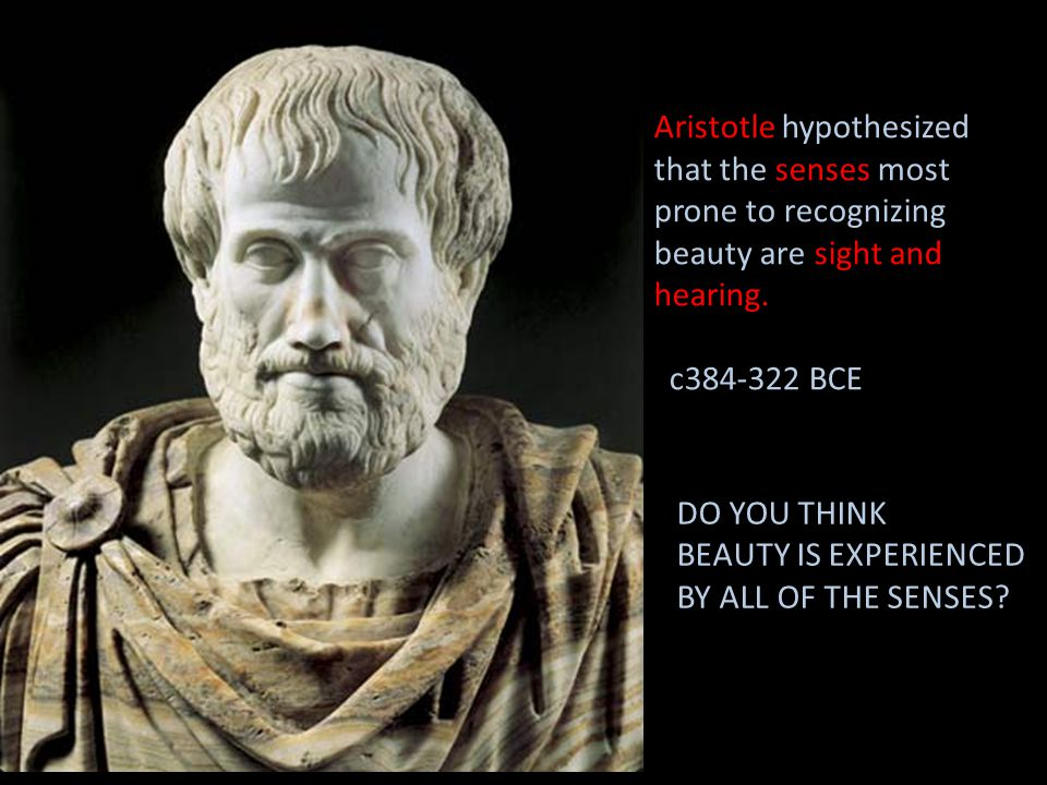 Aristotle hypothesized that the senses most prone to recognizing beauty are sight and hearing. c384-322 BCE DO YOU THINK BEAUTY IS EXPERIENCED BY ALL