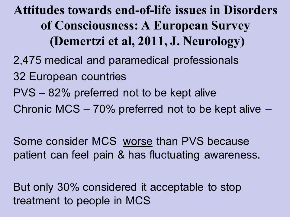 Attitudes towards end-of-life issues in Disorders of Consciousness: A European Survey (Demertzi et al, 2011, J.