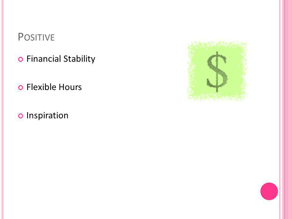 P OSITIVE Financial Stability Flexible Hours Inspiration