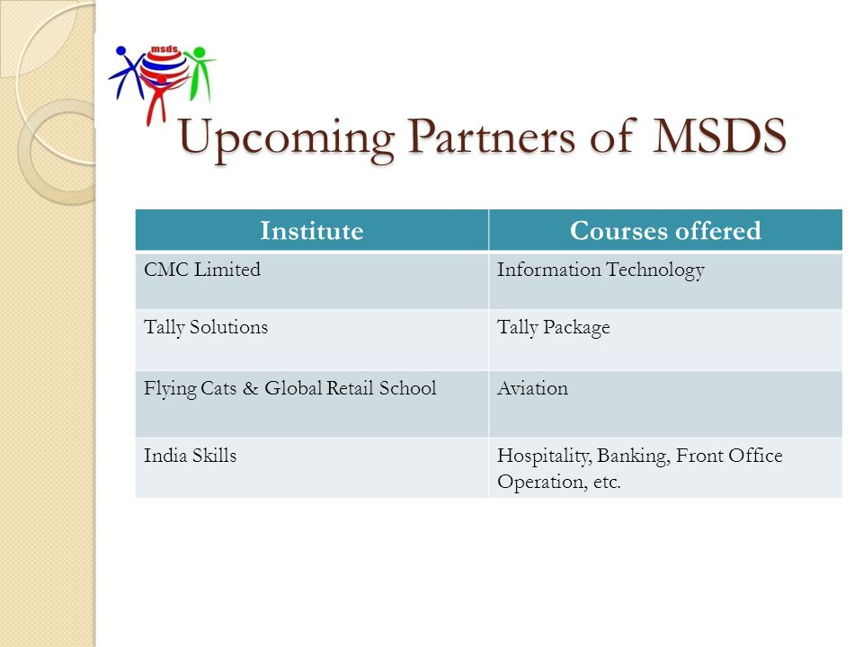 Upcoming Partners of MSDS InstituteCourses offered CMC LimitedInformation Technology Tally SolutionsTally Package Flying Cats & Global Retail SchoolAv
