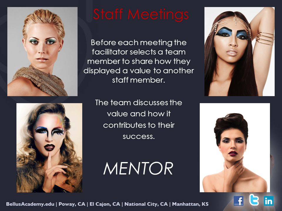 Staff Meetings Before each meeting the facilitator selects a team member to share how they displayed a value to another staff member.