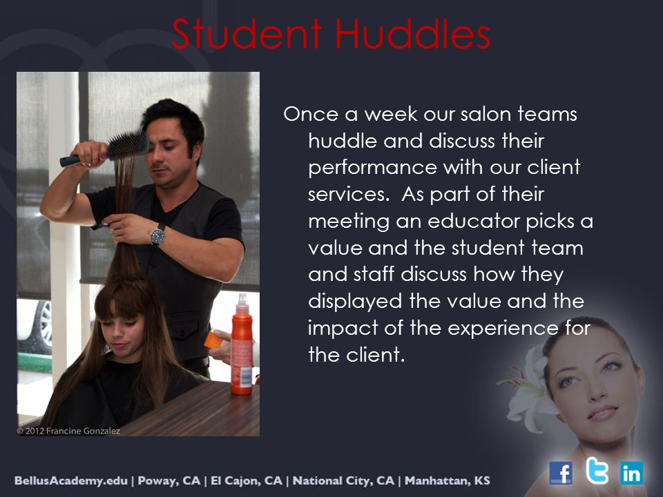 Student Huddles Once a week our salon teams huddle and discuss their performance with our client services.