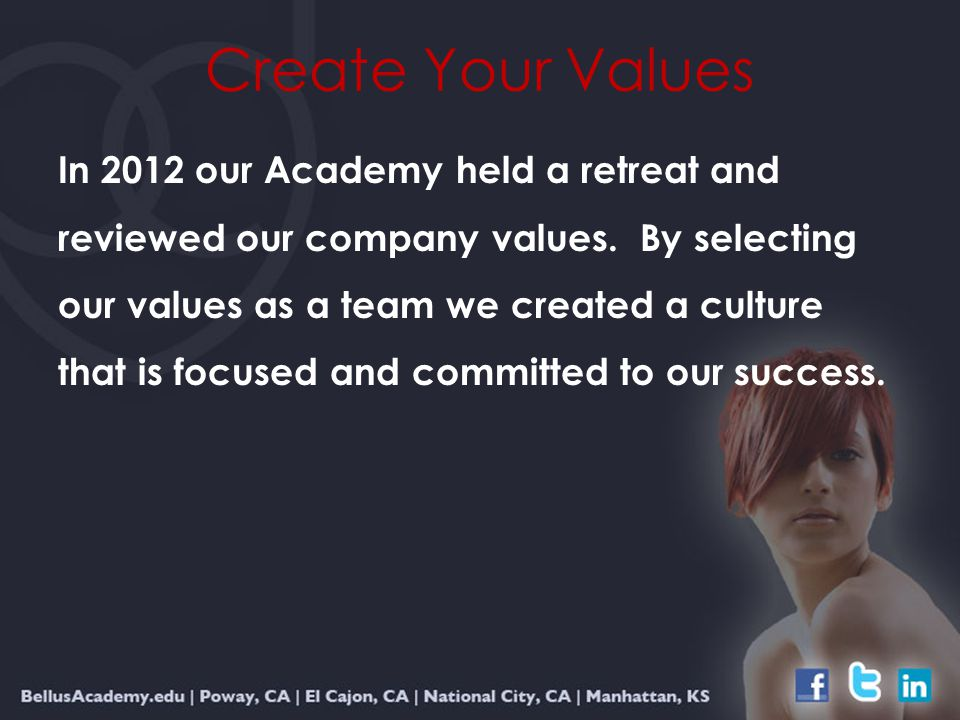 In 2012 our Academy held a retreat and reviewed our company values.