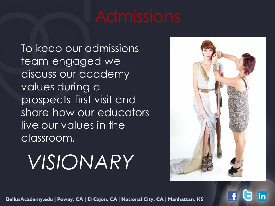 Admissions To keep our admissions team engaged we discuss our academy values during a prospects first visit and share how our educators live our values in the classroom.