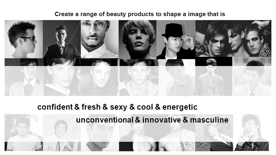 Create a range of beauty products to shape a image that is unconventional & innovative & masculine confident & fresh & sexy & cool & energetic