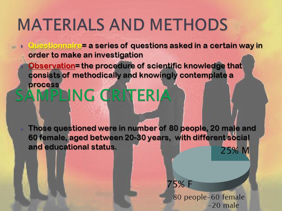 Questionnaire= a series of questions asked in a certain way in order to make an investigation Questionnaire= a series of questions asked in a certain way in order to make an investigation Observation= the procedure of scientific knowledge that consists of methodically and knowingly contemplate a process Observation= the procedure of scientific knowledge that consists of methodically and knowingly contemplate a process Those questioned were in number of 80 people, 20 male and 60 female, aged between 20-30 years, with different social and educational status.