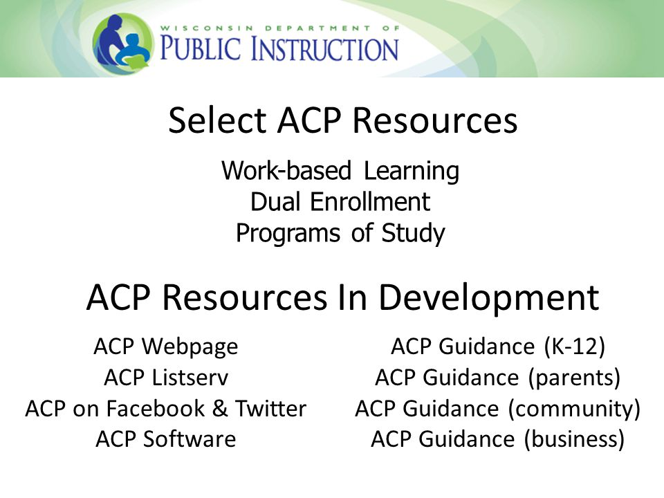 Select ACP Resources ACP Resources In Development ACP Webpage ACP Listserv ACP on Facebook & Twitter ACP Software ACP Guidance (K-12) ACP Guidance (parents) ACP Guidance (community) ACP Guidance (business) Work-based Learning Dual Enrollment Programs of Study