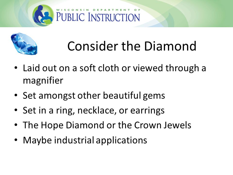 Consider the Diamond Laid out on a soft cloth or viewed through a magnifier Set amongst other beautiful gems Set in a ring, necklace, or earrings The Hope Diamond or the Crown Jewels Maybe industrial applications
