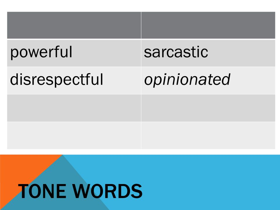 TONE WORDS powerfulsarcastic disrespectfulopinionated