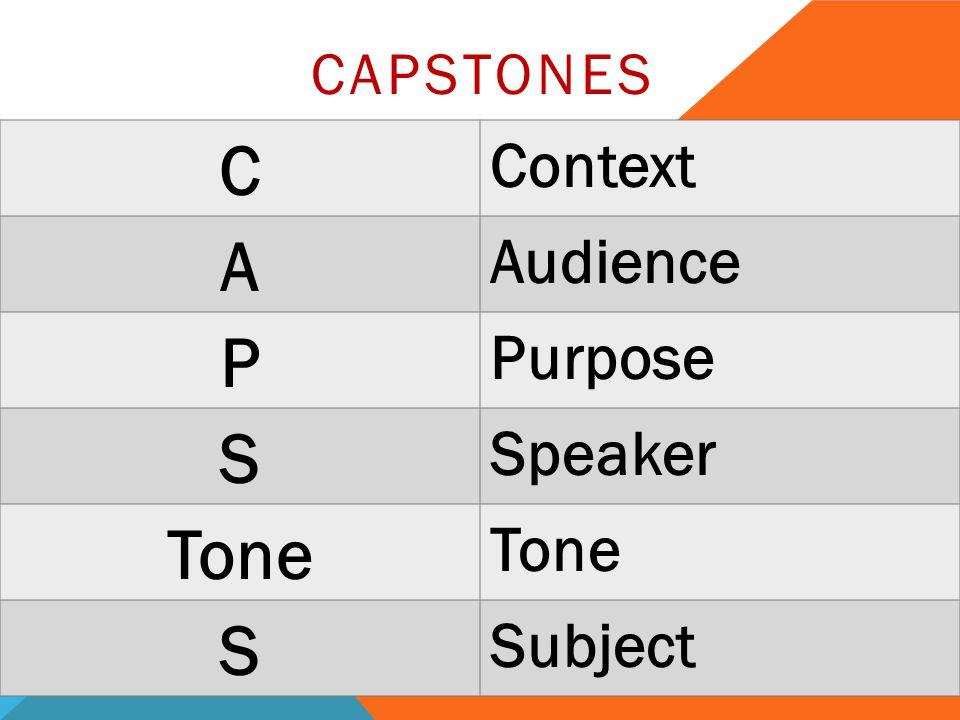 CAPSTONES C Context A Audience P Purpose S Speaker Tone S Subject