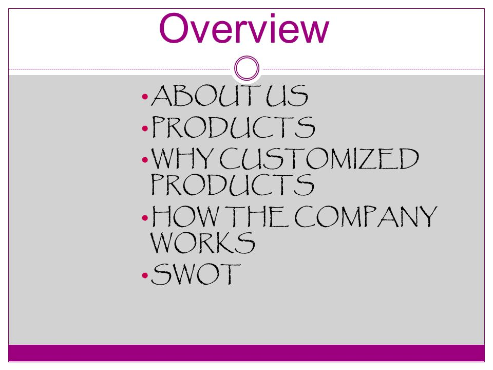 ABOUT US PRODUCTS WHY CUSTOMIZED PRODUCTS HOW THE COMPANY WORKS SWOT Overview