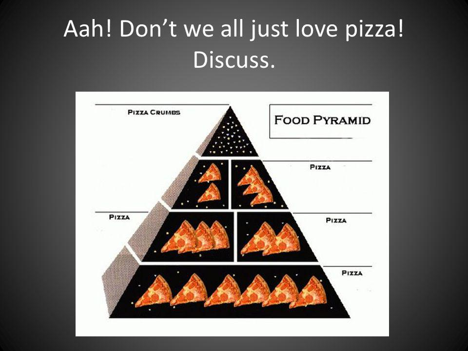 Aah! Dont we all just love pizza! Discuss.