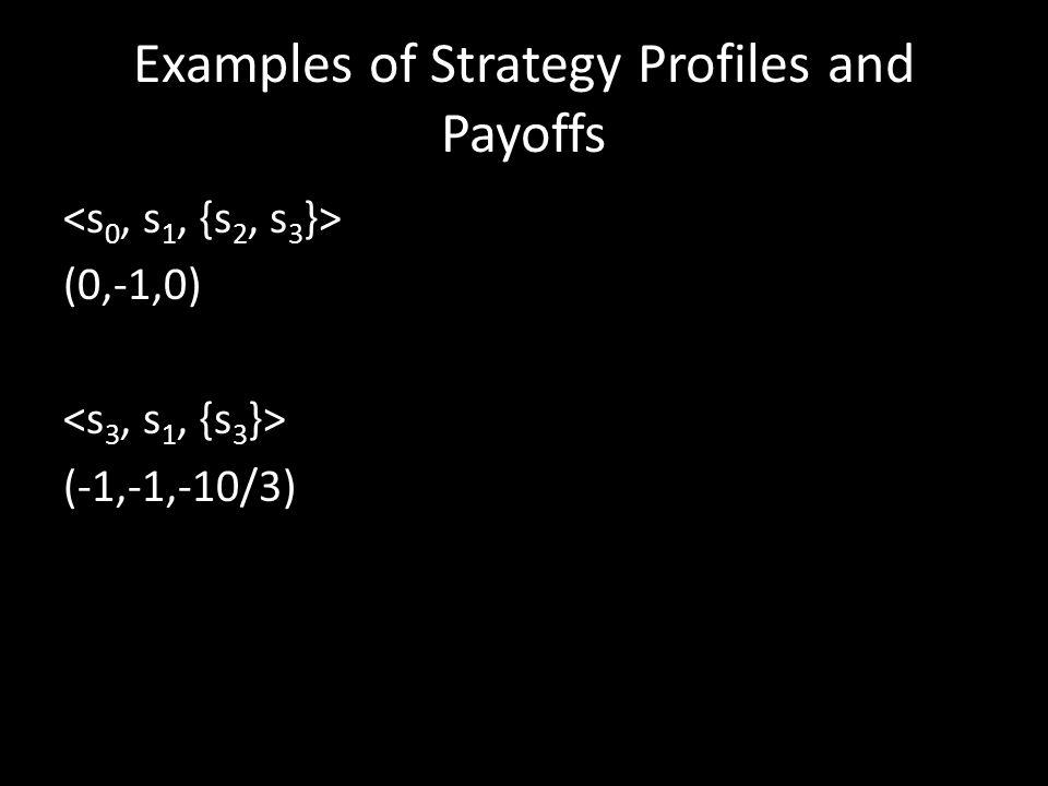Examples of Strategy Profiles and Payoffs (0,-1,0) (-1,-1,-10/3)