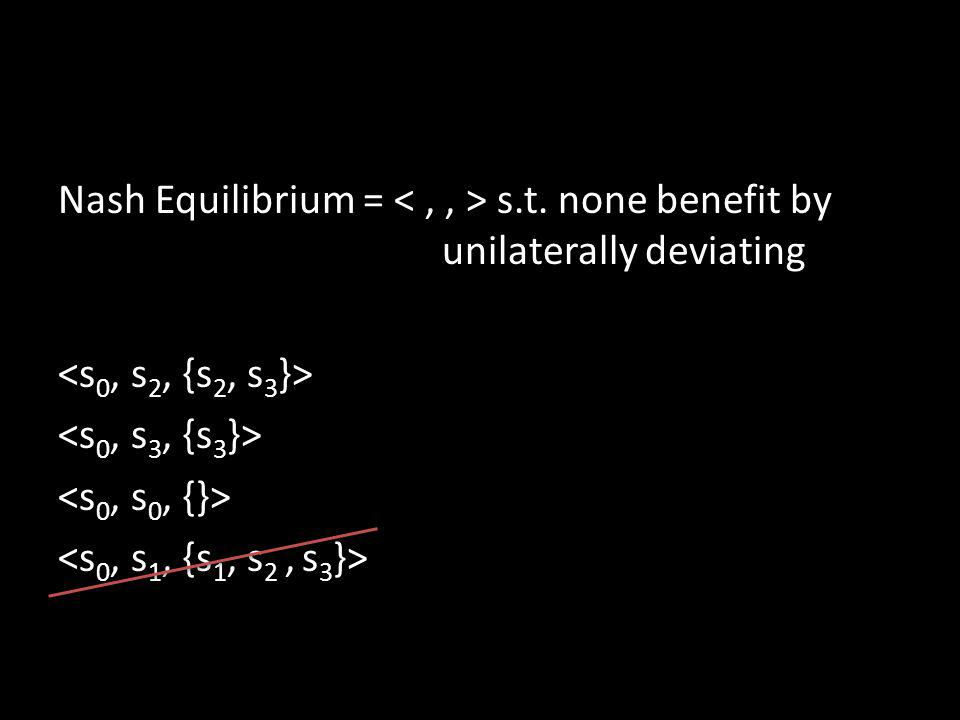 Nash Equilibrium = s.t. none benefit by unilaterally deviating