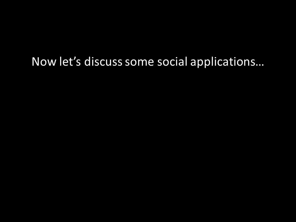 Now lets discuss some social applications…