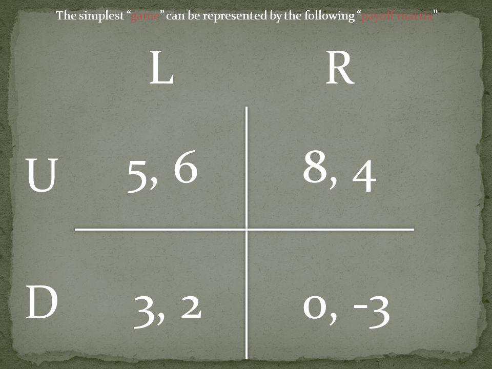 5, 6 8, 4 3, 20, -3 U D LR The simplest game can be represented by the following payoff matrix