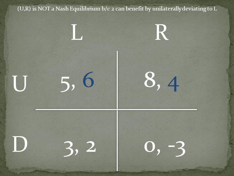 5, 6 8, 4 3, 20, -3 U D LR (U,R) is NOT a Nash Equilibrium b/c 2 can benefit by unilaterally deviating to L