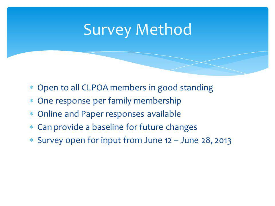 Open to all CLPOA members in good standing One response per family membership Online and Paper responses available Can provide a baseline for future changes Survey open for input from June 12 – June 28, 2013 Survey Method