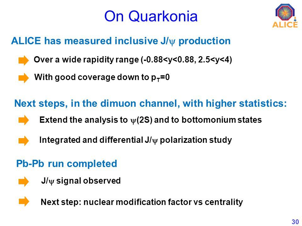 30 On Quarkonia Next steps, in the dimuon channel, with higher statistics: Extend the analysis to (2S) and to bottomonium states Integrated and differential J/ polarization study Pb-Pb run completed J/ signal observed ALICE has measured inclusive J/ production Over a wide rapidity range (-0.88<y<0.88, 2.5<y<4) With good coverage down to p T =0 Next step: nuclear modification factor vs centrality