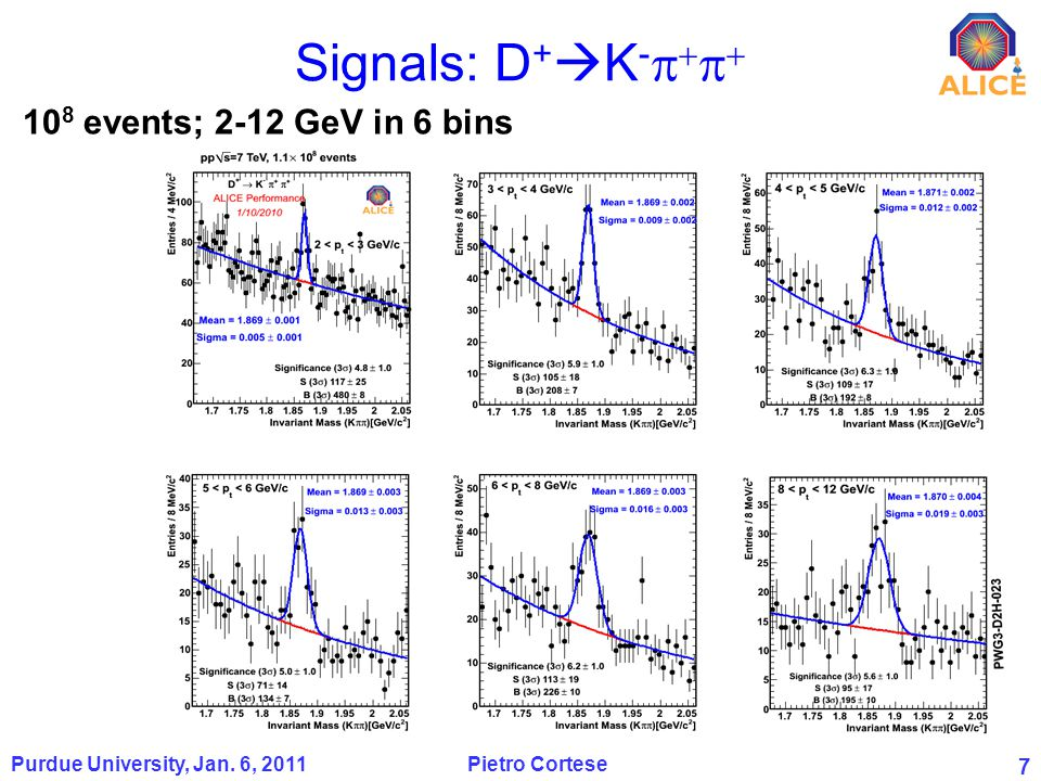 7 Signals: D + K - Purdue University, Jan. 6, 2011 Pietro Cortese 10 8 events; 2-12 GeV in 6 bins