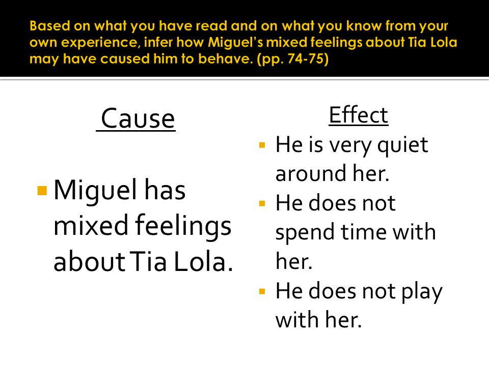 Cause Miguel has mixed feelings about Tia Lola. Effect He is very quiet around her. He does not spend time with her. He does not play with her.