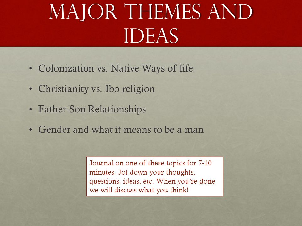Major themes and Ideas Colonization vs. Native Ways of lifeColonization vs. Native Ways of life Christianity vs. Ibo religionChristianity vs. Ibo reli