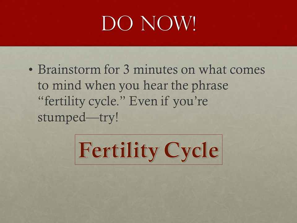 DO NOW. Brainstorm for 3 minutes on what comes to mind when you hear the phrase fertility cycle.