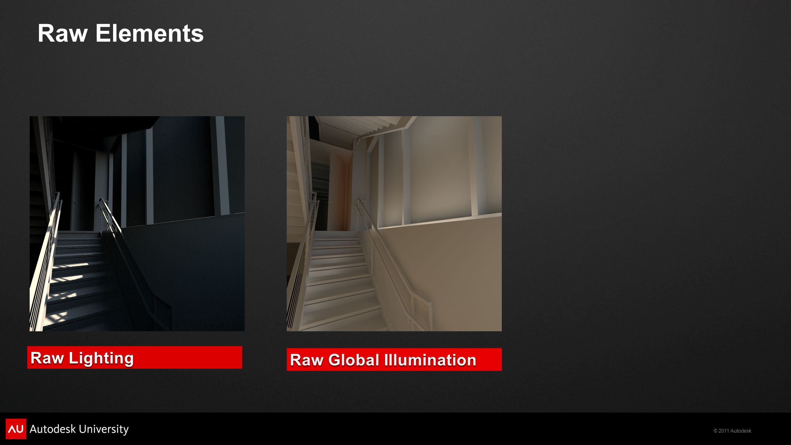 © 2011 Autodesk Raw Global Illumination Raw Lighting Raw Elements
