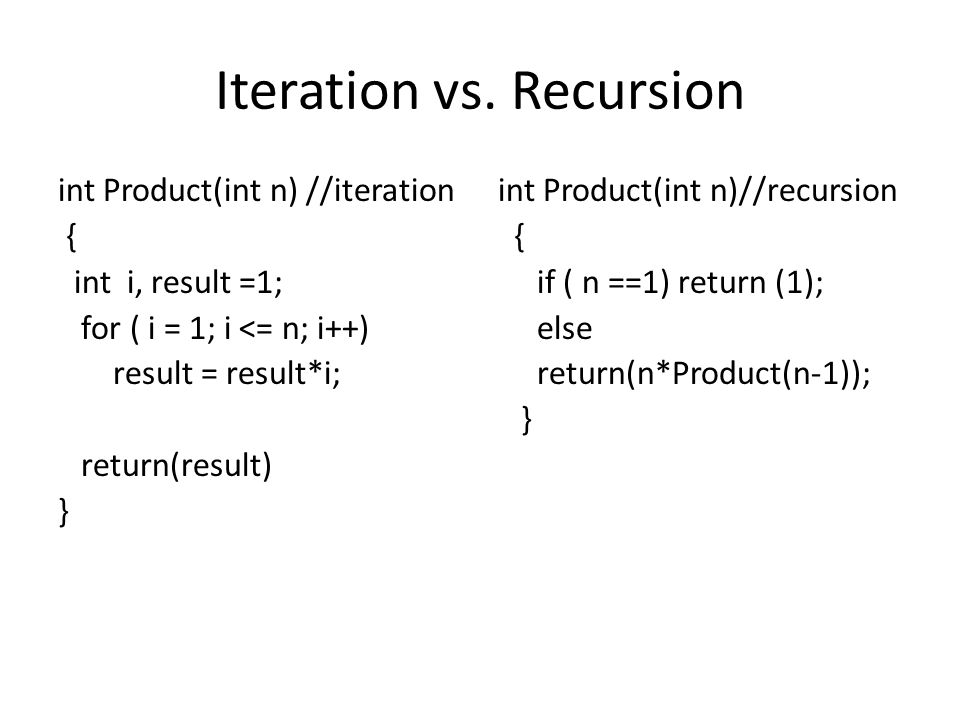 Iteration vs. Recursion int Product(int n) //iteration { int i, result =1; for ( i = 1; i <= n; i++) result = result*i; return(result) } int Product(i