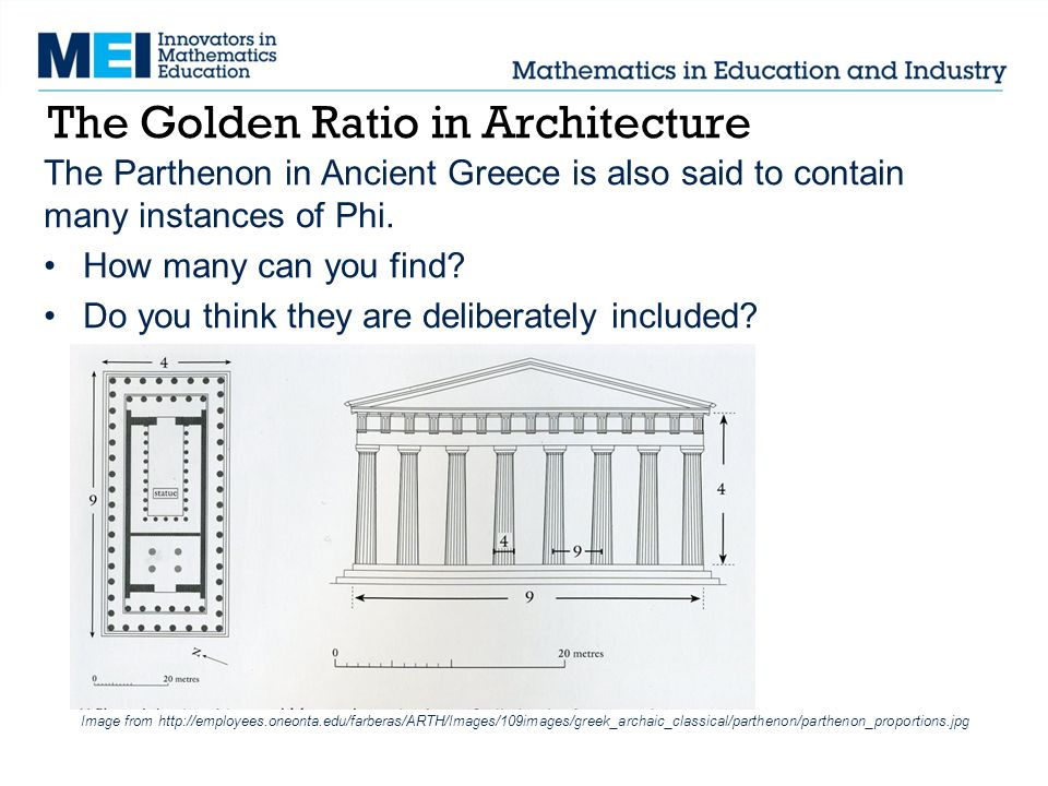 The Golden Ratio in Architecture The Parthenon in Ancient Greece is also said to contain many instances of Phi. How many can you find? Do you think th
