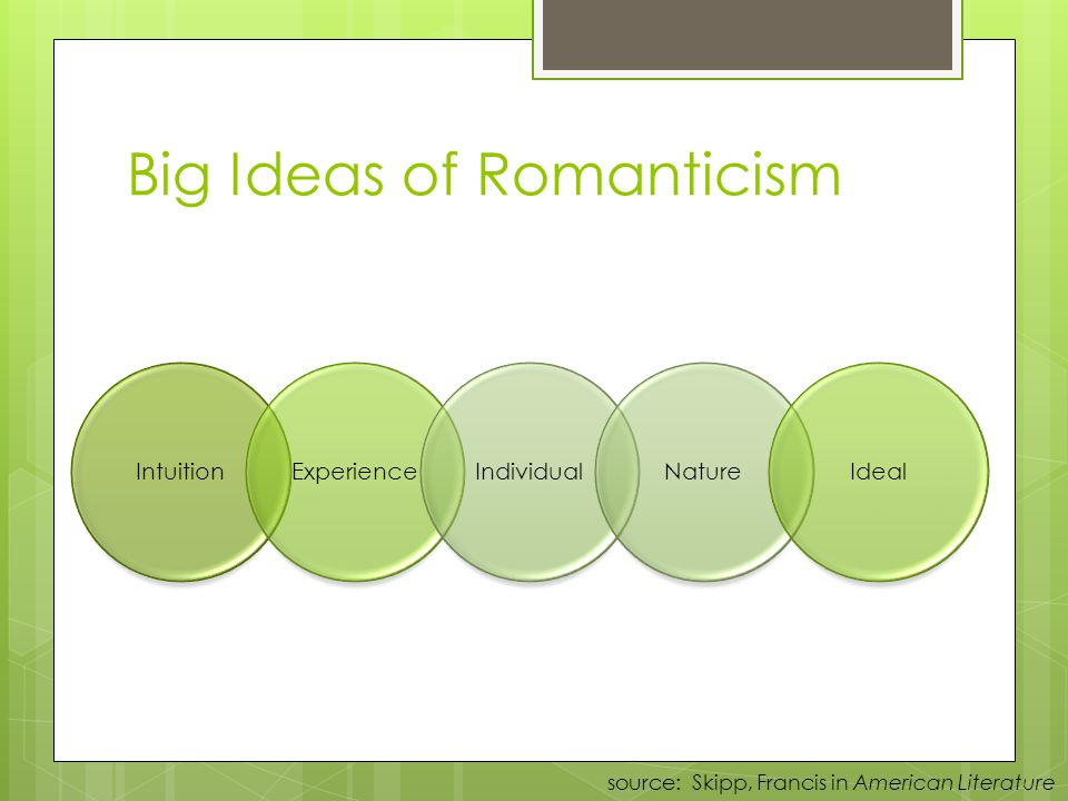 Characteristics of American Romanticism Values feeling over reason Places faith in inner experience and imagination Shuns artificiality of civilization; seeks unspoiled nature Prefers youthful innocence to educated sophistication Emphasizes individual freedom and worth Believes natures beauty can lead to spiritual and moral development Elements of Literature (145)