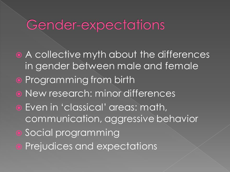 A collective myth about the differences in gender between male and female Programming from birth New research: minor differences Even in classical are
