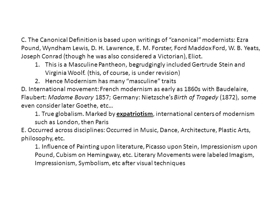 F.A product of modernity: Technology, Science, Psychology 1.