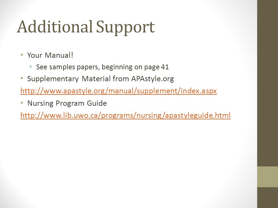Additional Support Your Manual.
