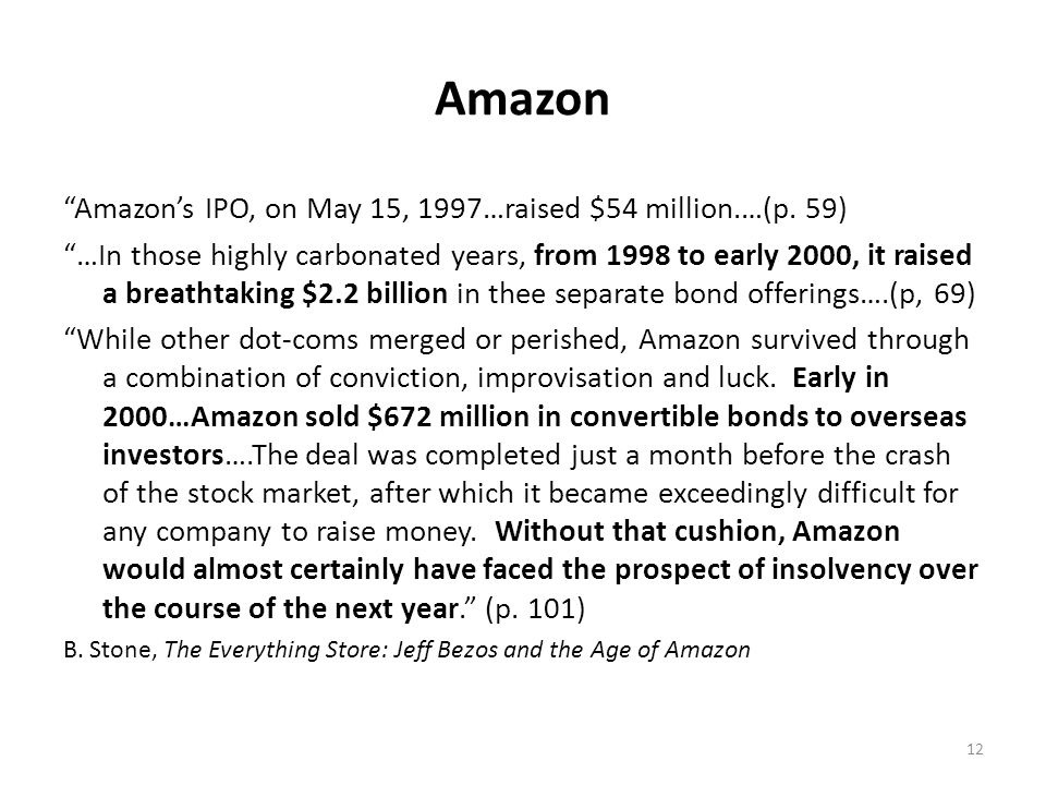 Amazon Amazons IPO, on May 15, 1997…raised $54 million.…(p. 59) …In those highly carbonated years, from 1998 to early 2000, it raised a breathtaking $