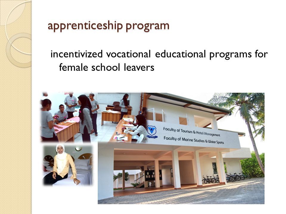 apprenticeship program incentivized vocational educational programs for female school leavers