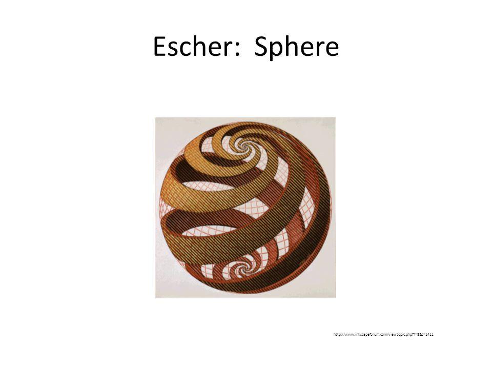 Escher: Sphere http://www.inkscapeforum.com/viewtopic.php?f=8&t=1411
