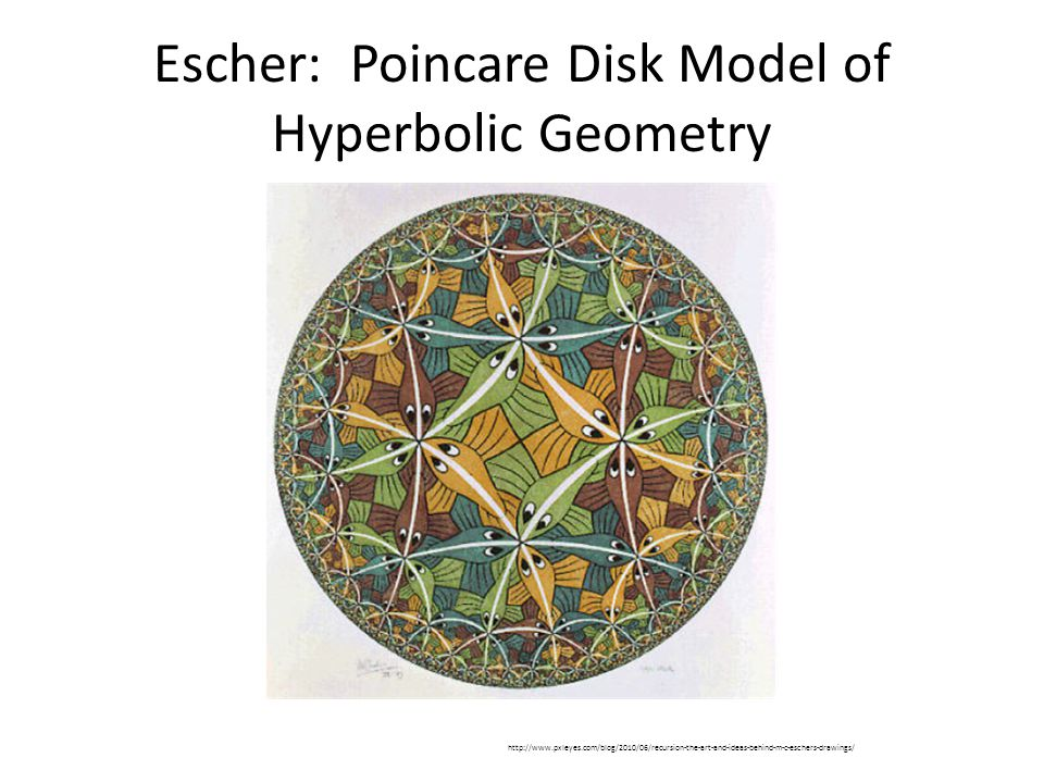 Escher: Poincare Disk Model of Hyperbolic Geometry http://www.pxleyes.com/blog/2010/06/recursion-the-art-and-ideas-behind-m-c-eschers-drawings/