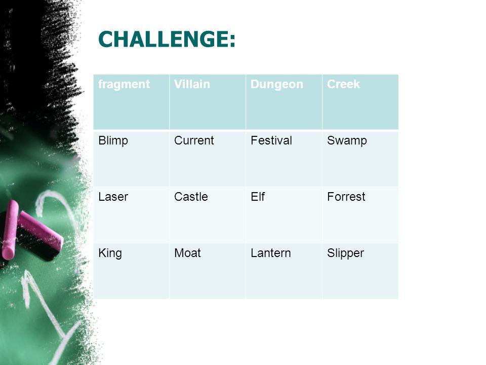 CHALLENGE: fragmentVillainDungeonCreek BlimpCurrentFestivalSwamp LaserCastleElfForrest KingMoatLanternSlipper