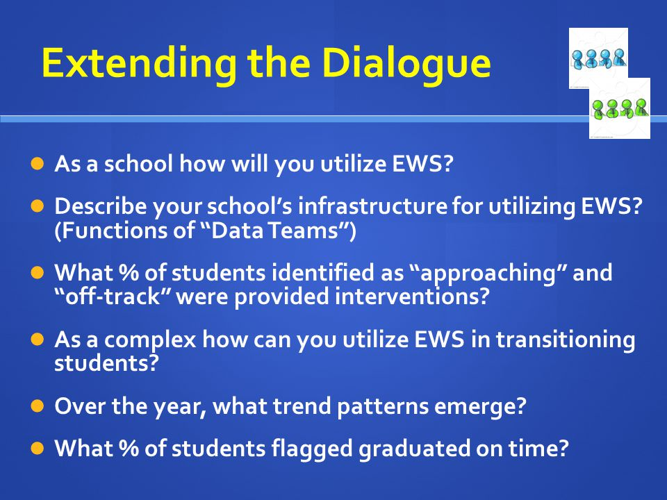 Extending the Dialogue As a school how will you utilize EWS? Describe your schools infrastructure for utilizing EWS? (Functions of Data Teams) What %